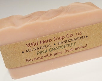 PINK GRAPEFRUIT Natural Soap Bar - Bursting with juicy sweet essential oil scent!