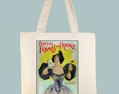 Parfums des Femmes de France Vintage Poster Black or Natural Canvas Tote - Selection of sizes available