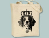 Cavalier King Charles Spaniel Head with Crown on  Canvas Tote -- Selection of sizes and image colors available