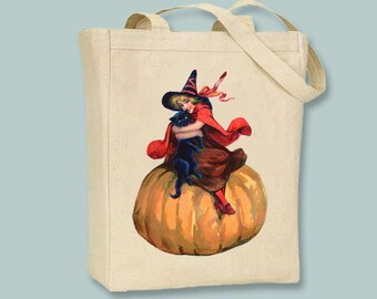 Beautiful Vintage Halloween Witch Illustration NATURAL or BLACK canvas tote -- selection of sizes available.