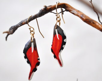 Staudinger's Longtail Moth Wings Earrings - Carved Walnut Hardwood & Hand Painted - 14 Karat Gold Filled Findings