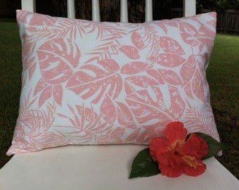 Throw Pillow Cover - Vintage Pink and White Tropical Batik-Inspired Fabric - 12 x 16
