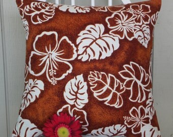 Pillow Cover - Vintage Hawaiian Barkcloth - Chocolate Brown and Cream Hibiscus - 18 x 18