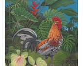 Speckled Kauai Rooster, Large Giclee Print