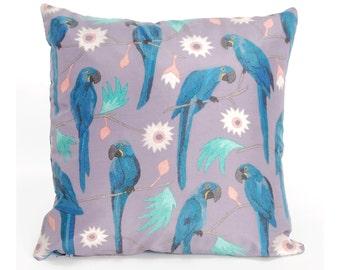 Macaws Cushion - handmade silk cushion