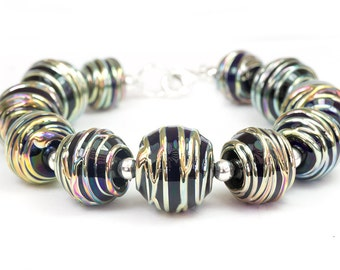 Continuum - Handcrafted Sterling Silver Lampwork Glass Beads by Clare Scott SRA Black Metallic