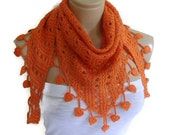 christmas scarf, hand-knitted, fashion scarves, women gift, spring, neckwarmer,  Orange, holidays