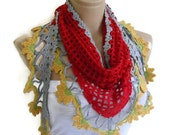 Crochet scarf, hand-knitted, fashion, gift, Women, unique scarf, for her gifts, Red, Gray and yellow scarf