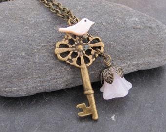 Key Necklace Bird Necklace Pendant Necklace Antique Necklace Jewelry, Vintage Style
