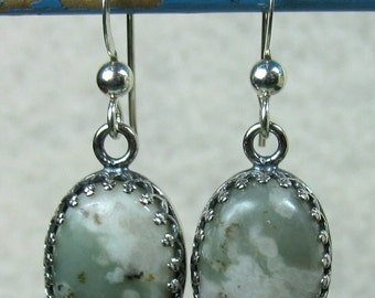 Earrings - Beautiful Peace Stone in Sterling Silver (E-147)