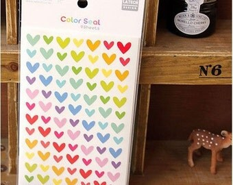 6 Sheets Color Seal Sticker - Heart