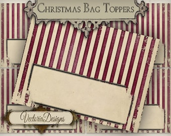 Christmas Candy Bag Toppers - printable / add your own text - VD0576