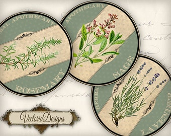 30 Round Herbal Labels 2 inch instant download circles printable images digital collage sheet VD0670