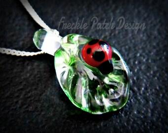 Ladybug Leaf Pet Cremation Glass Necklace, Lampwork Glass w Argentium Streling Silver,  Custom Made