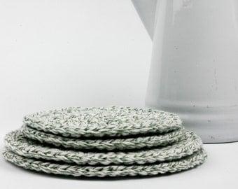 Trivet-Hot Pad-Pot Holder Sage Green Twine Set of 4