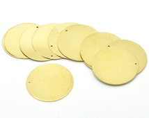 "10 Brass Sheet Metal Stamping Blanks, Round CIRCLE DISC shape with hole, 22mm (7/8"")  24 gauge msb0251"