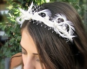 Chic beige bridal headband