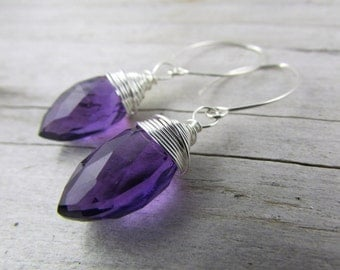 amethyst earrings purple Sterling Silver gemstone  drop dangle earrings bridesmaid gift