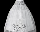 Bridal Prom A-Line Petticoat 3 hoops underskirt Slip skirt WHITE
