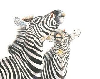 Zebras watercolor painting animal art PRINT of watercolor painting A4 size medium print Z8515