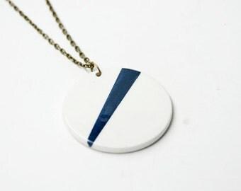 Ceramic necklace pendant geometric blue and white, Ceramic jewelry, Minimalist ceramic scandinavian necklaces, Round geometric pendant ooak