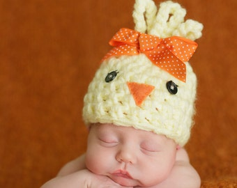 Newborn Chick Hat, Newborn Photo Prop, Easter Photo Prop, Newborn Girl Hat, Yellow Hat, Newborn Bird Hat, Easter Hat, Newborn Easter