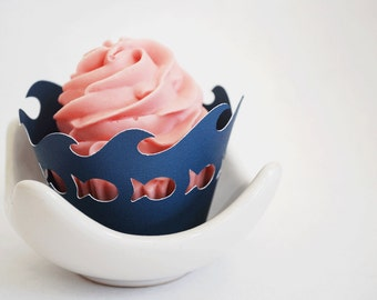 Fish and Ocean Wave Cupcake Wrappers In Your Choice of Color Qty 12 By Your Little Cupcake
