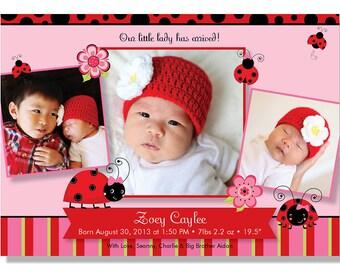 Little Ladybug Birth Announcement - Digital File