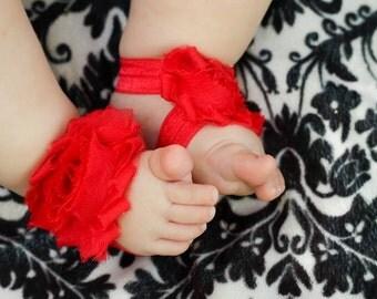 SALE Red Baby Girl Shabby Flower Sandals Barefoot Elastic Spring Summer 0-5 5-12 12-18 mos baptism blessing christening shower gift bloom