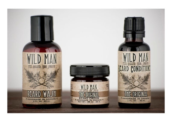 beard grooming gift set three pack beard oil by wildroseherbs. Black Bedroom Furniture Sets. Home Design Ideas