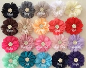 "3"" Chiffon Ballerina Flowers with Rhinestone Center You PICK COLORS Scalloped edges Hallie flowers DIY wedding bridesmaids baby headband"