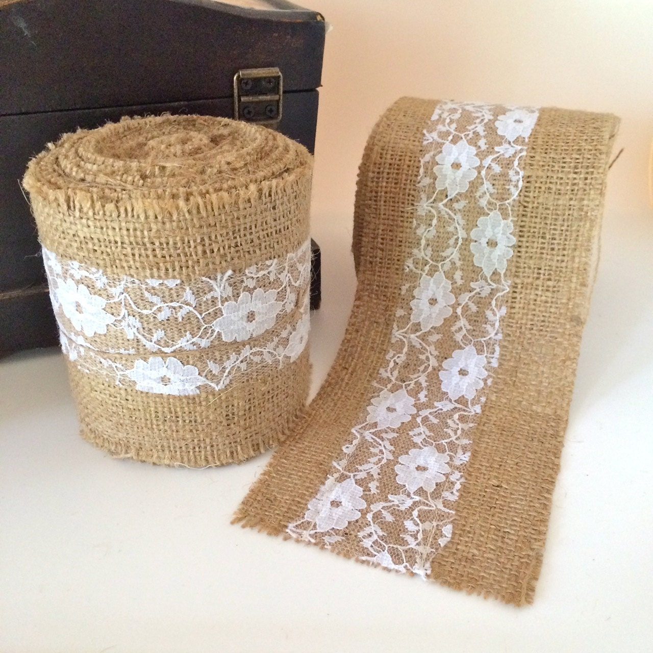 4 burlap and lace ribbon trim natural burlap with white for How to use burlap ribbon