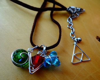 Brown Suede Cord with Three Spiritual Stones and Silver Triforce®
