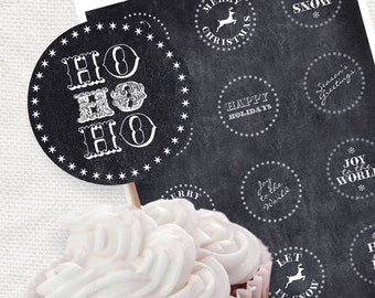 chalkboard christmas party circles - printable file