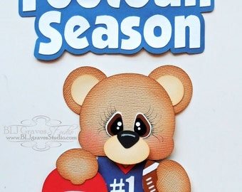 Premade Paper Piecing Title for Scrapbook Page Football Season Bear Handmade 043
