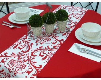 White Red Holiday Damask Table Runners for Wedding Decor, Birthday Parties, Party Decor, Holidays - You Select Size