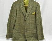 1960's Houndstooth Plaid Mens Sport Coat Retro Jacket Lime Green Lining 40Long Mens Medium Tall