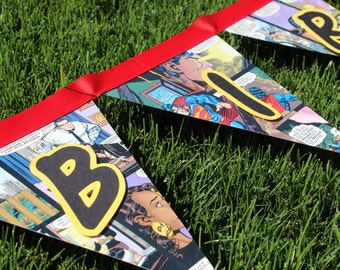 Fun upcycled comic book pennant banner
