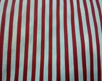 Red and white stripe, 1/2 yard, pure cotton fabric