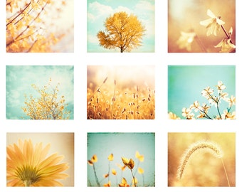 Set of Nature Photography, Yellow Blue Photography, Aqua Mint Green Photos, Gold Yellow Photography Set, Botanical Photography Wall Prints