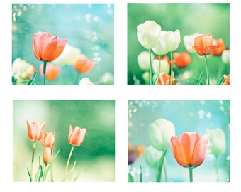 Tulip Photo Set of 4, aqua blue orange flowers green teal turquoise nursery nature photography babys room floral print white botanical