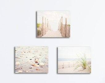 Pale Beach Canvas Set - three white cream light beige brown coastal photography canvases nautical gallery wraps seaside photographs wall art