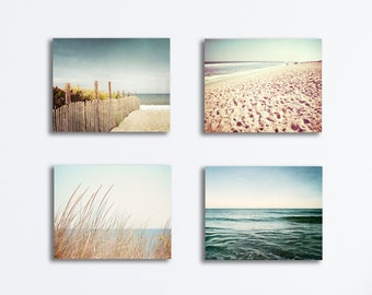 Beach Canvases Set - four coastal photography blue beige brown canvas gallery wraps cream ocean sea nautical wall art landscape print set