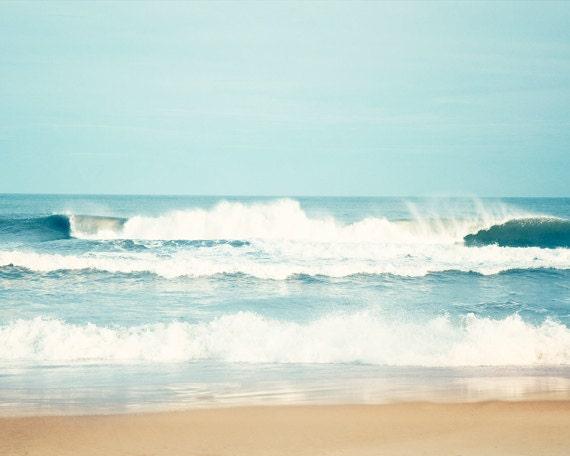 """Ocean Photography, sea beach waves seascape water blue beige white seashore coastal wall art, 16x20, 11x14, 8x10 Photograph, """"Salty Sea Air"""""""