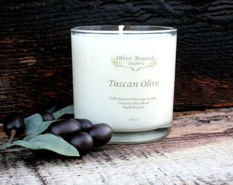 Organic Candle TUSCAN OLIVE Coconut Wax Candle Essential Oils All Natural 10 oz.