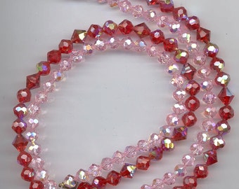 Fabulous 2-strand vintage crystal necklace - Swarovski light siam red and light rose