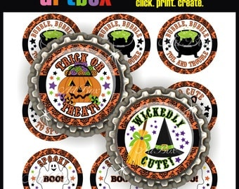 Damask Halloween Bottle Cap Images - 4x6 Digital Collage Sheet - BottleCap Size Images - One Inch Circles for Hair Bows, Pendants, Magnets