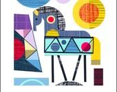 Ellen Giggenbach, paper cut, summer, horse, print