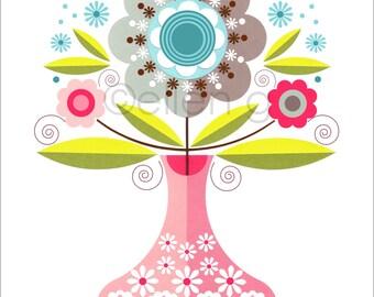 Pretty, pink, spring flower, retro, mid century vase, print