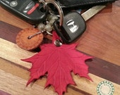 Leather Maple Leaf Key Ring : Made to Order